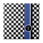 checkered pattern with blue stripe tile