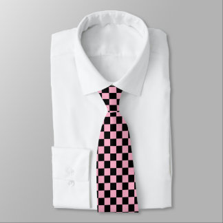 Checkered Pink and Black Tie