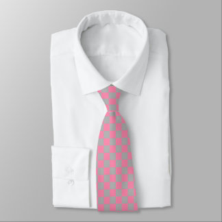 Checkered Pink and Silver Tie