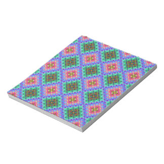 Checkered Pink and Terquoise Fractal Pattern Notepad