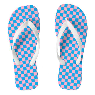 Checkered Pink and Turquoise Flip Flops