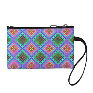Checkered Pink and Turquoise Fractal Pattern Coin Purse