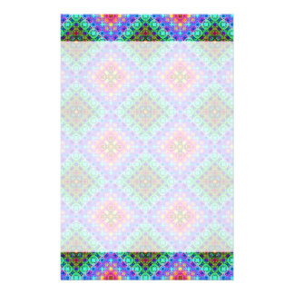 Checkered Pink and Turquoise Fractal Pattern Stationery