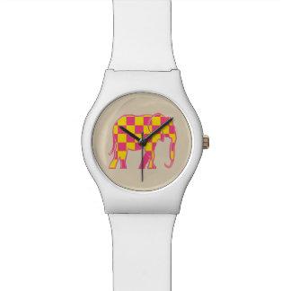 Checkered Pink Yellow Bold Cartoon Elephant Girly Wrist Watch
