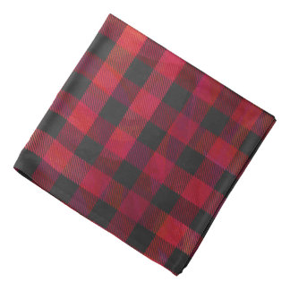 Checkered Plaid Red and Black Bandana