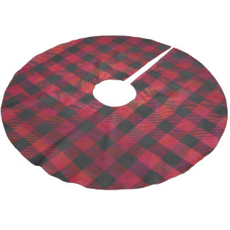 Checkered Plaid Red and Black Brushed Polyester Tree Skirt