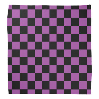 Checkered Purple and Black Bandana