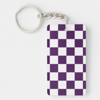Checkered Purple and White Double-Sided Rectangular Acrylic Key Ring
