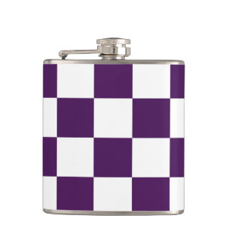 Checkered Purple and White Hip Flask