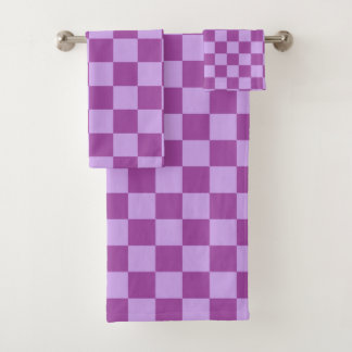 Checkered Purple Bath Towel Set