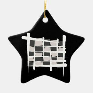 Checkered Racing Brush Flag Ceramic Star Decoration