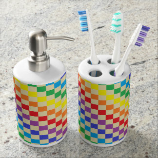 Checkered Rainbow Beige Soap Dispenser And Toothbrush Holder