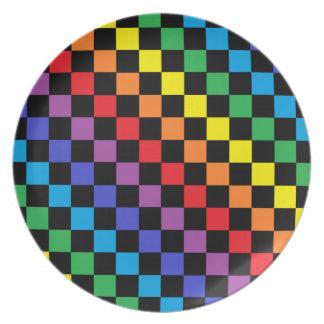 Checkered Rainbow Black Plate