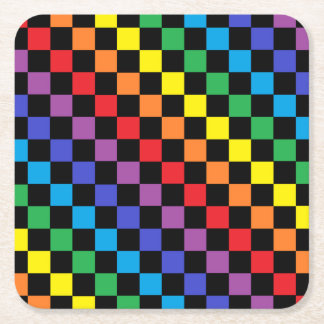 Checkered Rainbow Black Square Paper Coaster