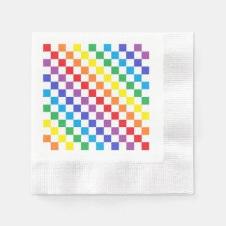 Checkered Rainbow Disposable Serviettes