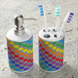 Checkered Rainbow Gray Soap Dispenser And Toothbrush Holder