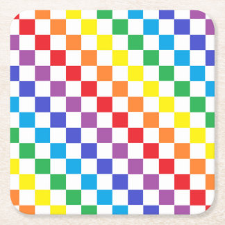 Checkered Rainbow Square Paper Coaster