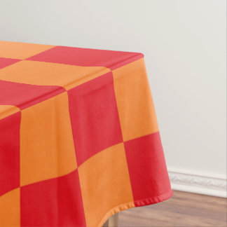 Checkered Red and Orange Tablecloth