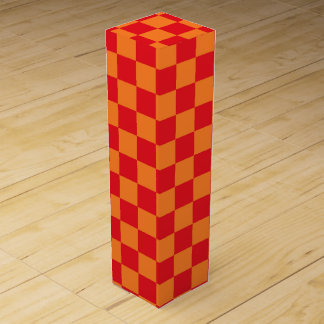 Checkered Red and Orange Wine Bottle Boxes