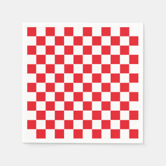 Checkered Red and White Disposable Napkins