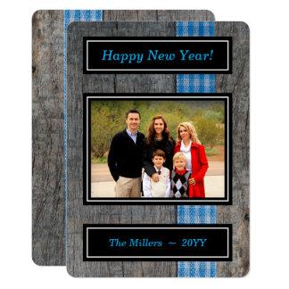 Checkered Ribbon on Wood - Happy New Year Photo Card