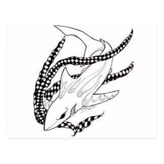 checkered shark postcard