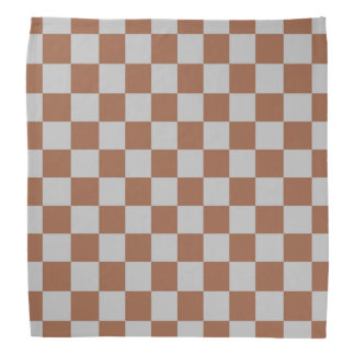 Checkered Silver and Brown Bandana