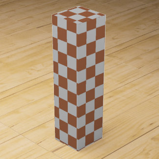 Checkered Silver and Brown Wine Gift Box