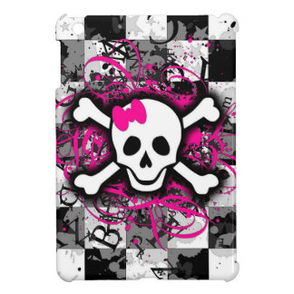 Checkered Skull With Hot Pink Splatter iPad Mini Case