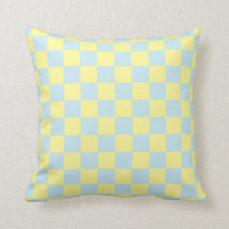 Checkered Soft Blue and Yellow Cushion