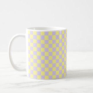 Checkered Soft Yellow and Purple Coffee Mug