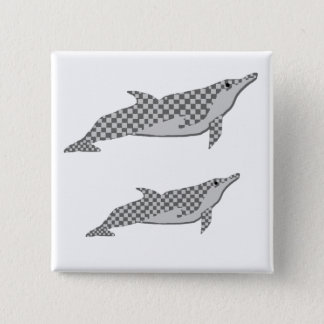 Checkered spinner dolphin tie 15 cm square badge