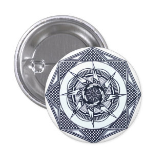Checkered Star Mandala Pin Button