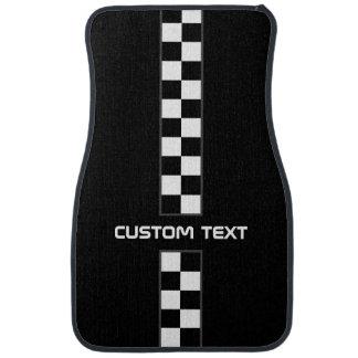Checkered Stripe Car Floor Mats - with custom text Car Mat