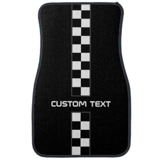 Checkered Stripe Car Floor Mats - with custom text Floor Mat