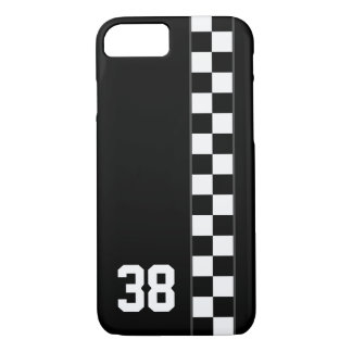 Checkered Stripe Custom Number iPhone 7 case