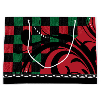 Checkered Swirl Design   Black, Red and Green Large Gift Bag