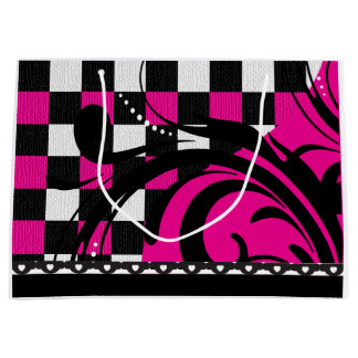 Checkered Swirl Design | Black, White and Hot Pink Large Gift Bag
