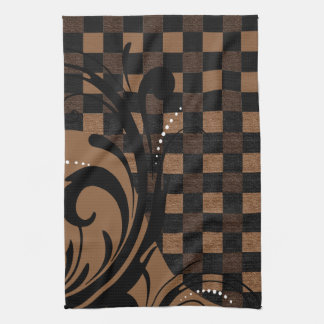 Checkered Swirly Pattern | Brown, Tan, Black Hand Towels