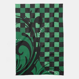 Checkered Swirly Pattern   Green and Black Tea Towel