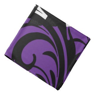 Checkered Swirly Pattern | Purple, White, Black Bandana