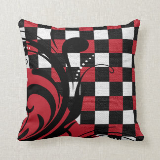 Checkered Swirly Pattern | Red, White, Black Cushion