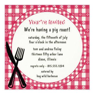Checkered Tablecloth Party Invitation