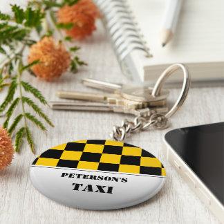 Checkered taxi monogram basic round button key ring