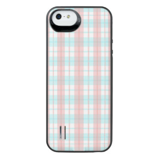 checkered turquoise and rouge iPhone SE/5/5s battery case