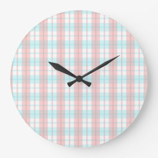 checkered turquoise and rouge large clock