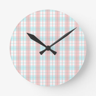 checkered turquoise and rouge round clock