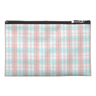 checkered turquoise and rouge travel accessory bags