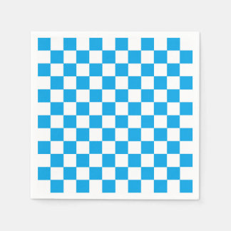 Checkered Turquoise and White Disposable Napkins