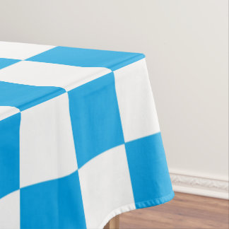 Checkered Turquoise and White Tablecloth